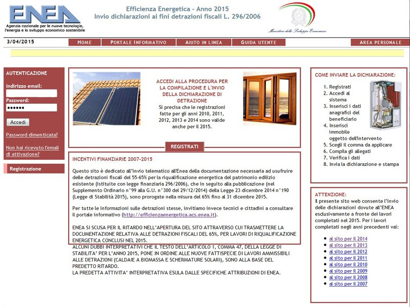 Detrazioni 65% E Schermature Solari Esterne: Insoddisfacente Il Sito Enea  2015