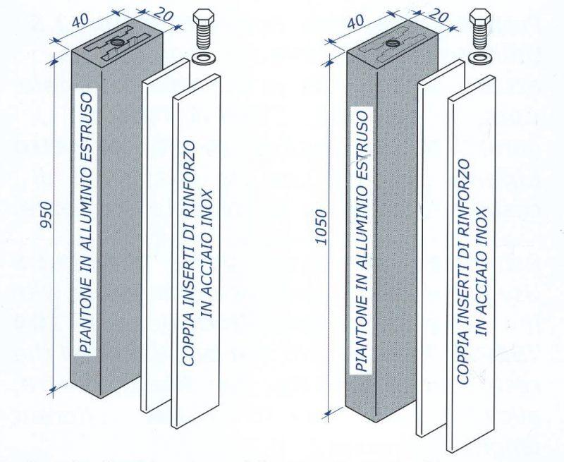 Ringhiere, parapetti: Compas, piantoni rinforzati per GR14 System