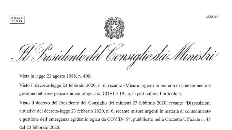 Coronavirus. Decreto DPCM chiude attività non essenziali