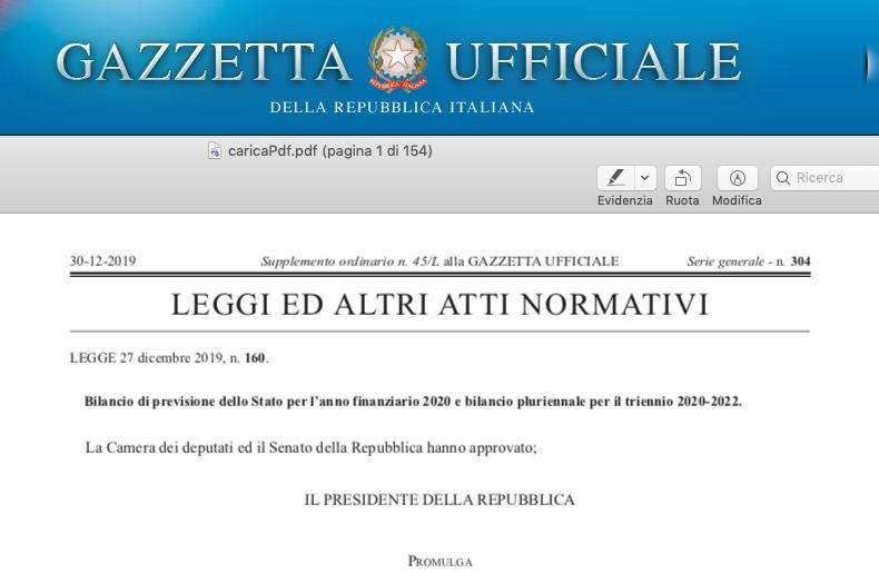 In Gazzetta Ufficiale la Legge di Bilancio 2020