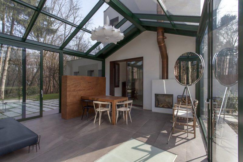 Giardino Dinverno Veranda : Rinnovo con veranda vetrata: un giardino dinverno nel bosco