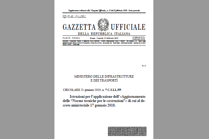 NTC 2018. In Gazzetta la Circolare n. 7/2019 con istruzioni e aggiornamenti