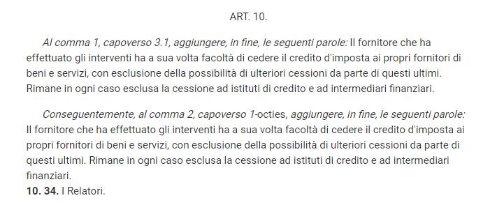 """Articolo 10: ora con """"cessione del credito ai fornitori"""""""