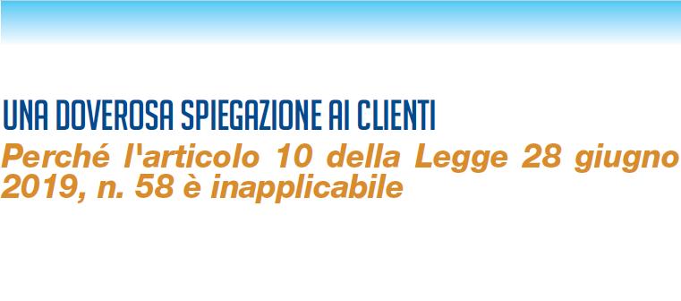 Articolo 10. Volantino delle Associazioni per i clienti